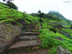 The stairway to the Shreevardhan Fort